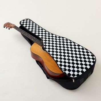 Black and White Checkerboard Pattern Guitar Case