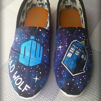 Doctor Who / Bad Wolf Painted Shoes/ Toms Custom Shoes