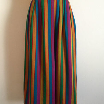KENZO!!! Vintage 1970s 'KENZO' vertical striped three quarter length skirt with pleated waist and side pockets / Size 38