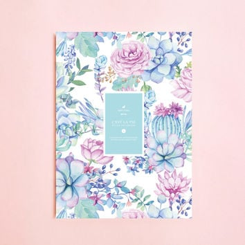 SUCCULENT ILLUSTRATION Lined NOTEBOOK | Writing Journal-Notebook for Writers Gift-Daily Planner-Large Notebook- Notebook-Back To School-Boho