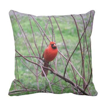 Red Cardinal Bird Throw Pillow