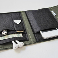 Nerd Herder gadget wallet in Olive Your Wallet for iPhone, Android, iPod, camera, SD cards, USB, batteries, guitar picks, IDs