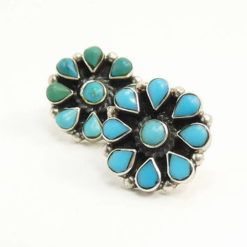 Vintage Mexico Sterling 925 Turquoise Pierced Earrings