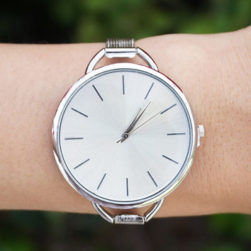 Silver Minimal Watch, White Womens Watch, Silver Watch, Modern Watch, Simple Watch