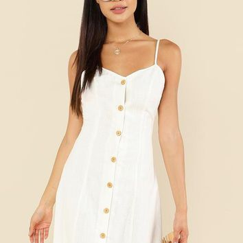 Cotton Wood Button Simple White Dress