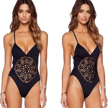 crochet one piece swimsuit Swimwear Women Sexy bodysuit hollow out Bathing suit Backless Monokini
