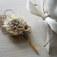 Sola Flower & Burlap Wedding Boutonniere. Made to Order.