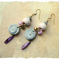 Bohemian Earrings, Ancient Gypsy Sea Queen, Polymer Clay Fossil Shells, Long Dangle Earrings, Boho style Me, Kaye Kraus