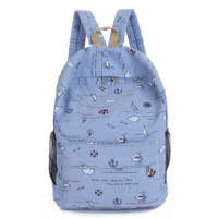 Canvas Anchor Printed Backpack School Bag Daypack