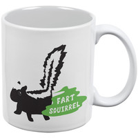 Fart Squirrel Skunk White All Over Coffee Mug