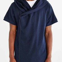 The Narrows Short-Sleeve Asymmetrical Zip Hooded Sweatshirt- Navy