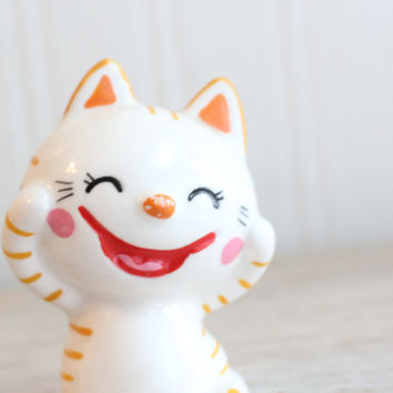 Kawaii Big Eye Cat Figurine - Vintage Japan Pink Orange Striped