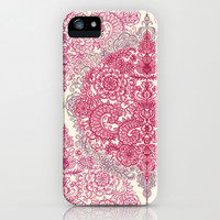 Happy Place Doodle in Berry Pink, Cream & Mauve iPhone & iPod Case by micklyn | Society6