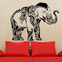Animal Elephant Patterns Art Indian Design Wall Vinyl Decal Art Sticker Home Modern Stylish Interior Decor for Any Room Smooth and Flat Surfaces Housewares Murals Design Graphic Bedroom Living Room (4137)