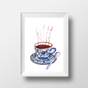 Printable blue chinese tea cup art Happy fall Wall Art watercolor painting, pumpkin spice print, kitchen food home decor thanksgiving decor