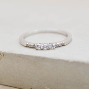 Eternity Ring w/ 3 Stones - Silver