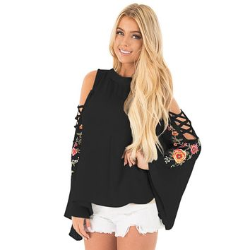 Black Embroidered Crisscross Bell Sleeve Blouse