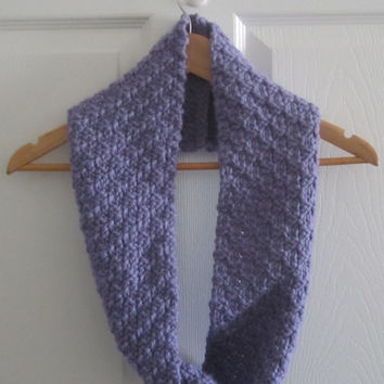 Lavender Scarf - Spring Scarf - Lilac Scarf - Knit Cowl - Chunky Knit Scarf - Purple Circle Scarf - Spring Knit Scarf - Knitted Scarf