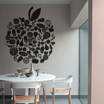 Wall Decor Vinyl Sticker Room Decal Apple Food Fruit Organic Health Meet Cheese Bread Vegetables Kitchen Green Greens (s234)