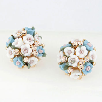 New Vintage Sweet Alloy Crystal Rhinestone Little Flower Stud Earrings for Women