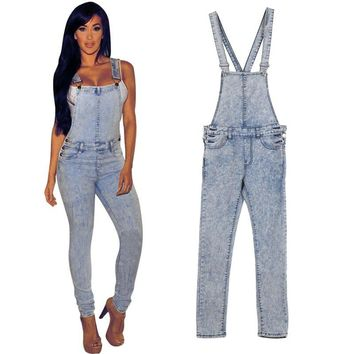 Vintage Style Women Jumpsuits Denim Overalls Skinny Lady Hole Loose Pants Jeans  YC632 L11