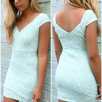 Hot Days Cool Nights Mint Floral Lace Bodycon Dress