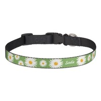 Daisy Flowers On Green With Custom Dog's Name Pet Collar