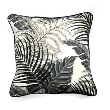 Cushion, throw pillow, home decor, Sanderson Manila, tropical jungle leaves design, charcoal gray, black, beige and cream linen mix fabric.