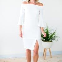 Event of the Year Off the Shoulder Midi Dress