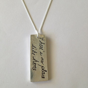 Memorial Vertical 2 Lines of Handwriting  Pendant or Keychain in Your Actual Loved Ones Writing Silver - 2 lines larger size