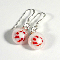 Red & White Christmas Dangle Earrings, Peppermint Candy Fused Glass, Gift for Her, Teacher Gift