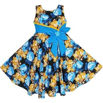 Sunny Fashion Flower Girl Dress Bohemia Gold Blue Bow Tie Everyday Summer Clothes Kids Cotton 2017 Summer Princess Size 6-12