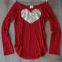 Sequin Heart Patch Dazzle Patch Slouchy Pullover T Shirt in Cranberry w/ Gold Heart Sequin Patch Womens  Shirt Valentines Day Gift Idea