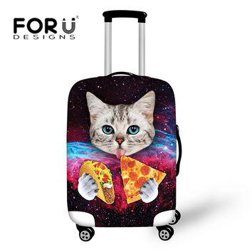 FORUDESIGNS Elastic Luggage Cover with Galaxy Cat Trolley Suitcase Luggage Protective Covers Zip Travel Rain Cover Bags Tumblr