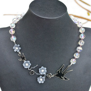 Unique Bridal Crystal Necklace With Free Matching by YssormDesigns