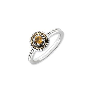 Sterling Silver & 14K Gold Plated Stackable Citrine Ring
