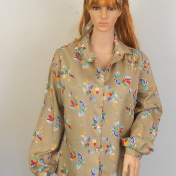 Secretary Blouse  - 1970s Beige Alice Stewart  Blouse - Size 16 with Colorful Leaves - Free US Shipping