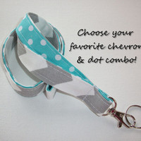 Lanyard  ID Badge Holder - Lobster clasp and key ring - design your own gray chevron white polka dots aqua two toned double sided