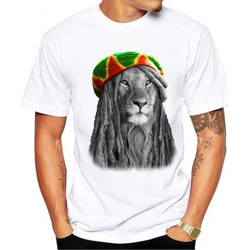 New 2017 Summer Animal Special Fashion Lion King T Shirt Men's High Quality KING RAGGAE Tops Male Hipster Tees