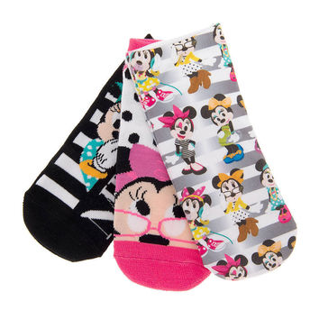 Disney Girl's MINNIE MOUSE  Ankle Socks Set of 3 NWT Size 9-11