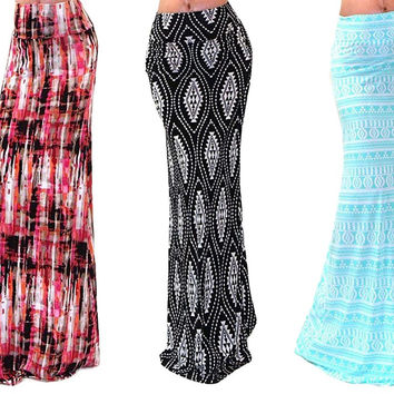 Maxi Skirt Print Yoga Band Long Maxi Casual Women Skirt