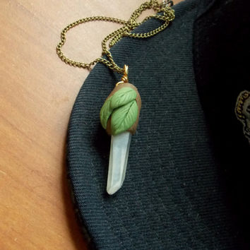 Quartz Crystal Fairy Polymer Clay Necklace // Woodland Faerie Hippie Jewelry