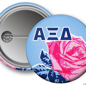 AXiD Alpha Xi Delta Rose Sorority Greek Button