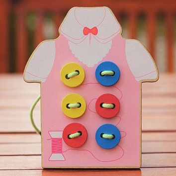 Wooden Toys for Children Beads Lacing Board Toys Toddler Sew On Buttons Education Teaching Aids Puzzles