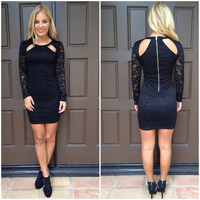 Strut Your Stuff Lace Dress - BLACK