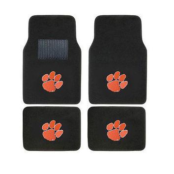 Licensed Official Brand New 4pc Set NCAA Clemson Tigers Car Truck Front Back Carpet Floor Mats