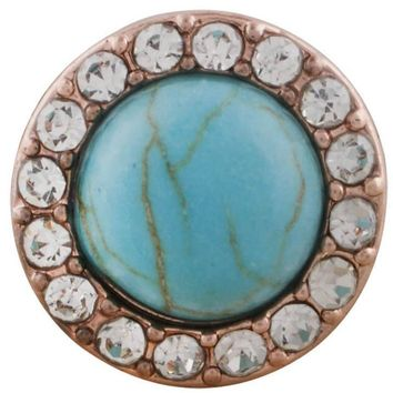 "Snap Charm Rose Gold Border Turquoise Stone and Crystals 12mm Mini Size 1/2"" Diameter Fits Ginger Snaps"