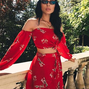 New Hot Summer 2 Two Piece Set Women Sexy Off Shoulder Ruffles Tops Skirts Set Floral Print  Female Casual Holiday Outfits