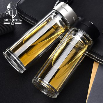 BIUBIUTUA 320ML Glass Water Bottle Brief Eco-friendly Water Tumbler With Stainlee Steel Tea Infuser Bottle For Water Hiking