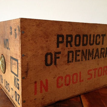 Vintage Wooden Danish Blue Cheese Crate